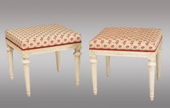 Pair of carved wood Swedish Stools 18th. Century