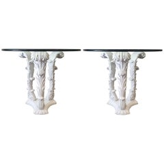 Pair of Carved Wood Tables in the Style of Serge Roche