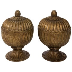 Pair of Carved Wood Urns