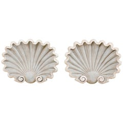 Pair of Carved Wood Wall Plaques in Beautiful Clam Shell Design