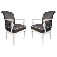 Pair of Carved Wood, White Lacquered and Raffia Chairs, France, 1940
