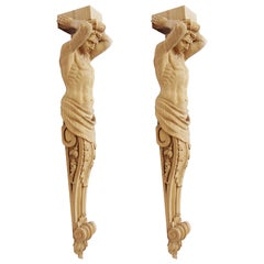 "Pair of Carved Wooden Corbels ""Atlant"""