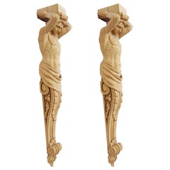 """Pair of Carved Wooden Corbels """"Atlant"""""""