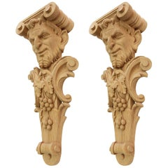 "Pair of Carved Wooden Corbels ""Bacchus"""