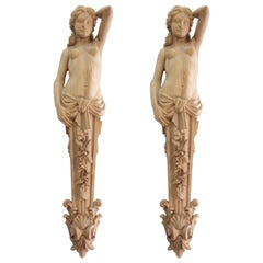 "Pair of Carved Wooden Corbels ""Caryatid"""
