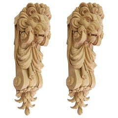 "Pair of Carved Wooden Corbels ""Lion"""
