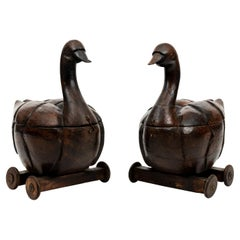 Pair of Carved Wooden Ducks