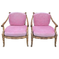 Pair of Carved Wooden Faux Bois Armchairs