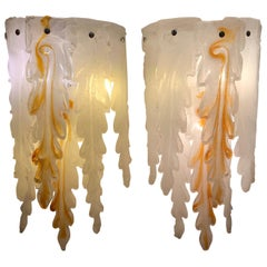 Pair of Cascade White and Amber Murano Glass Appliques, 1970s