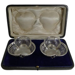 Pair of Cased English Sterling Silver Baskets, 1910