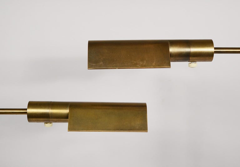 Mid-Century Modern Pair of Casella Brass Adjustable Reading Lamps For Sale