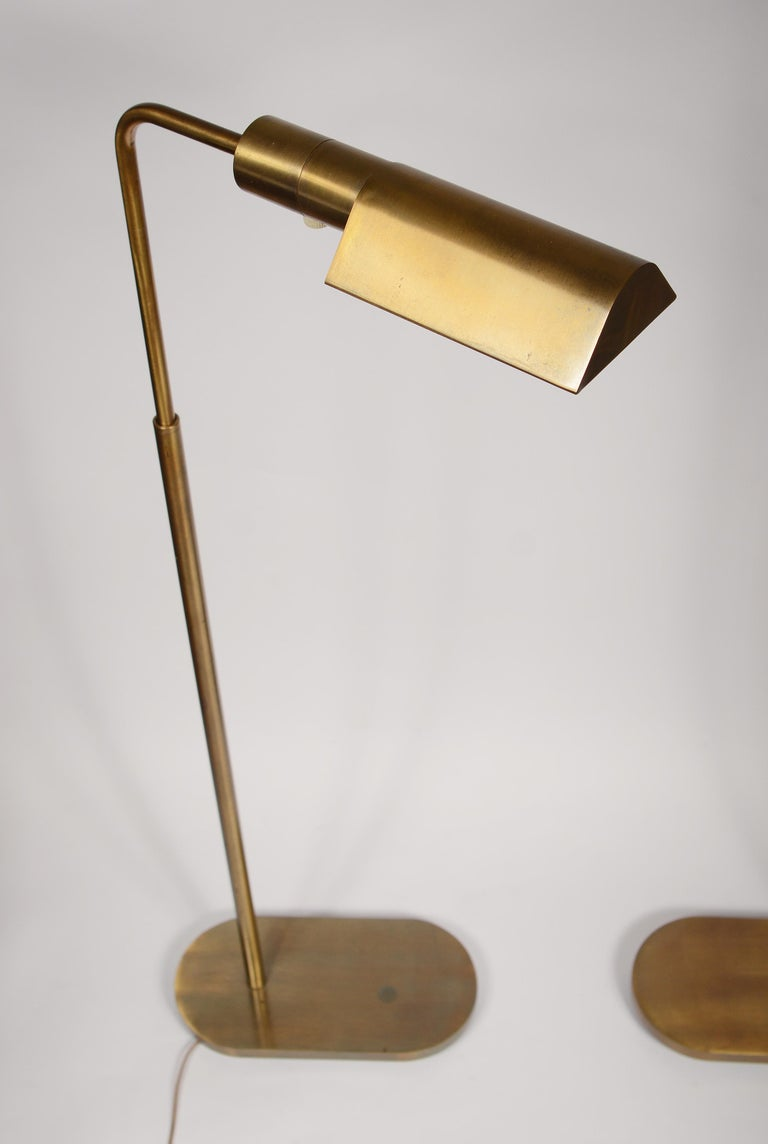 American Pair of Casella Brass Adjustable Reading Lamps For Sale