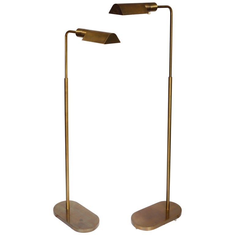 Pair of Casella Brass Adjustable Reading Lamps For Sale