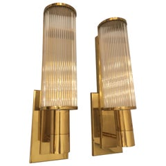 Pair of Casella Brass and Glass Rod Wall Sconces