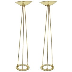 Pair of Casella Brass Torcheres Floor Lamps Vintage