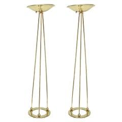 Pair of Casella Brass Torcheres Floor Lamps Vintage