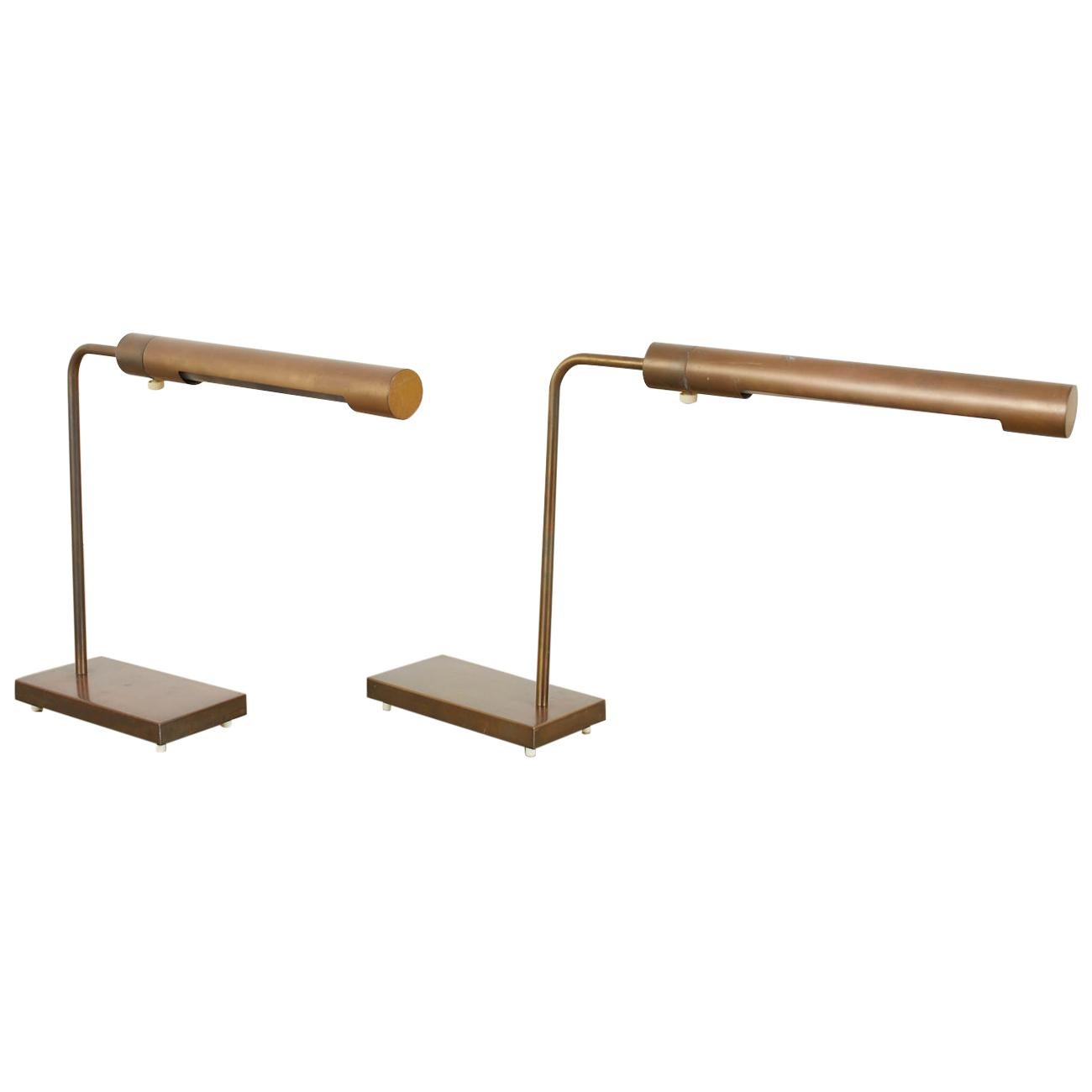 Pair of Casella Midcentury Brass Desk Reading Lamps