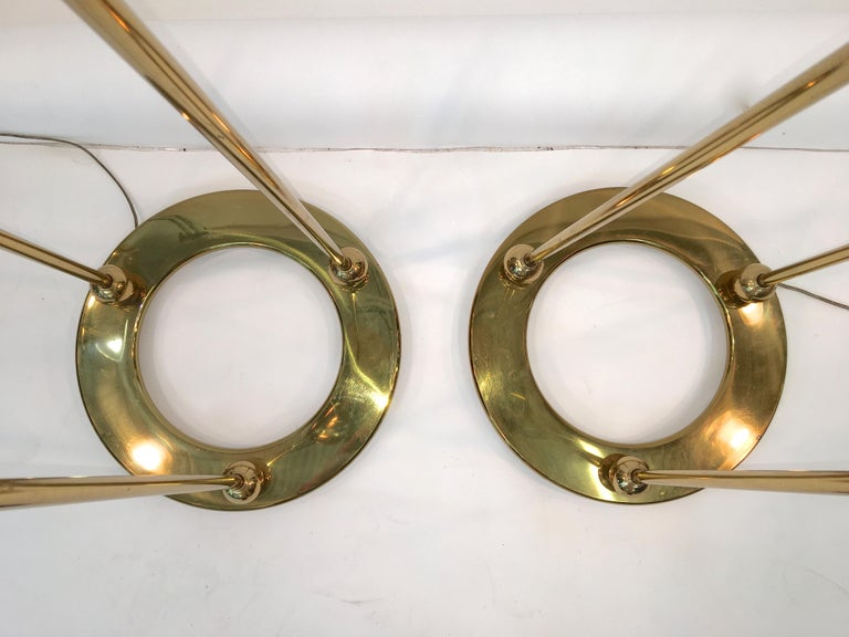 Pair of Casella Olympiad Halogen Torchiere Floor Lamps in Polished Brass For Sale 9