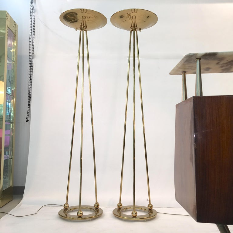 American Pair of Casella Olympiad Halogen Torchiere Floor Lamps in Polished Brass For Sale