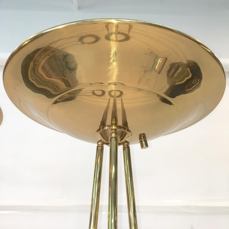 Pair of Casella Olympiad Halogen Torchiere Floor Lamps in Polished Brass For Sale 2