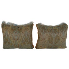 Pair of Cashmere Pillows with Feathered Detail