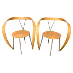 Pair of Cassina Italy Signed Revers Chairs Designed by Andrea Branzi, 1990s