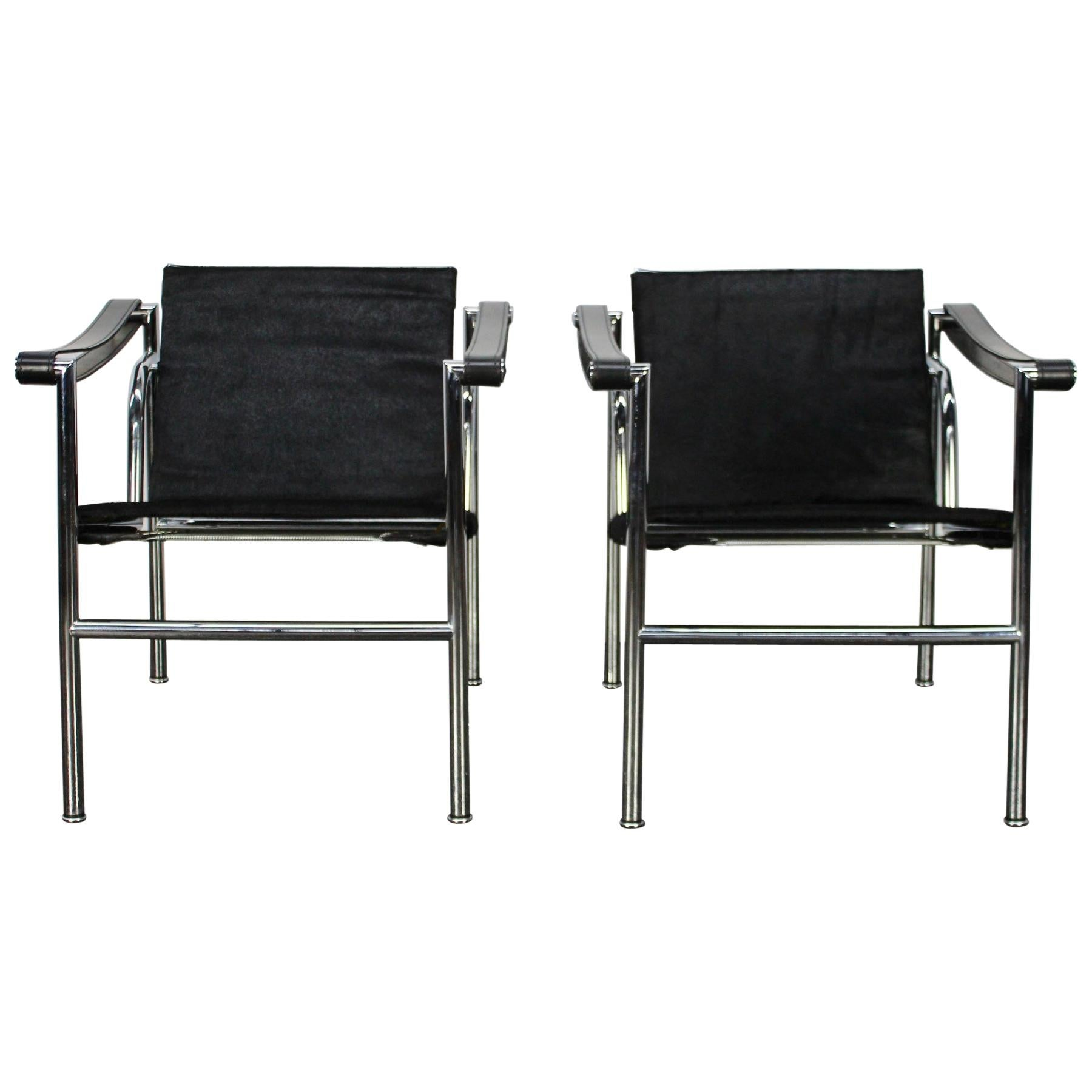 "Lc2 Le Corbusier Cassina Occasion pair of cassina ""lc1"" armchairs in black ""ponyskin"" leather and chrome"