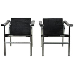 "Pair of Cassina ""LC1"" Armchairs in Black ""Ponyskin"" Leather and Chrome"