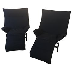 Pair of Cassina Veranda Adjustable Lounge Chairs by Vico Magistretti