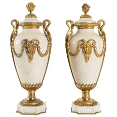 Pair of Cassolettes, 1900, Napoleon III Style Marble and Bronze