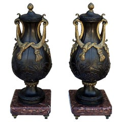 Pair of Cassolettes, 19th Century French Neoclassical Bronze