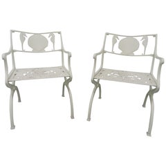 Pair of Cast Aluminum Garden Chairs with Seahorse and Shell Motif, Molla, 1950s