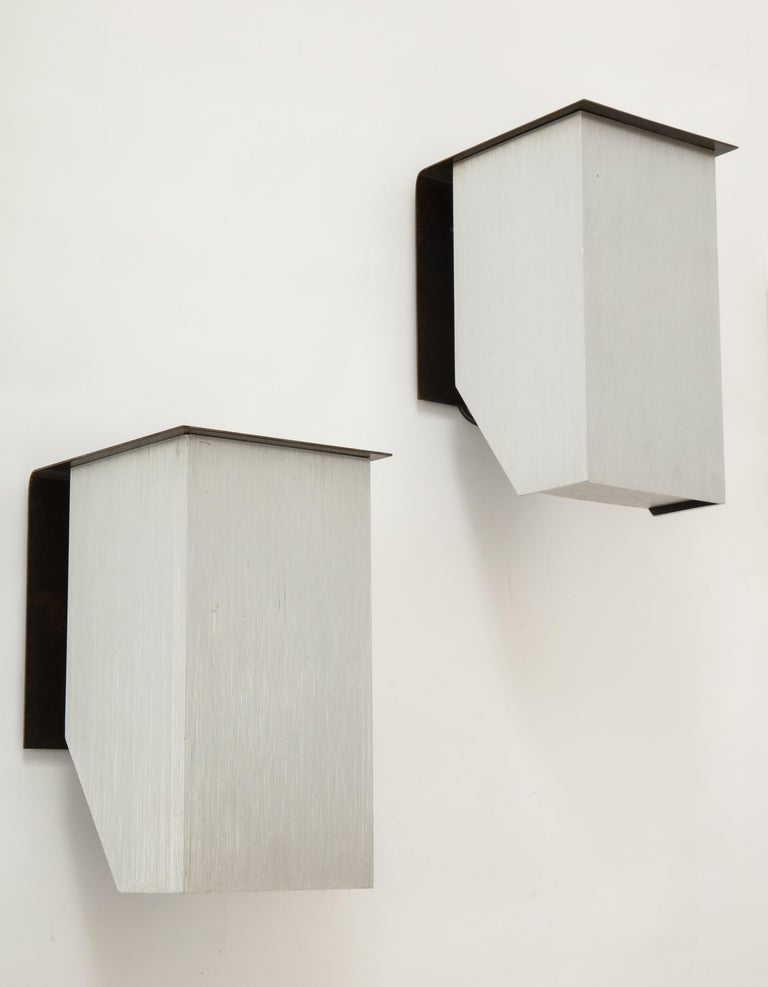 Pair of Cast Aluminum Modern Sconces, France, circa 1970 In Good Condition For Sale In New York City, NY