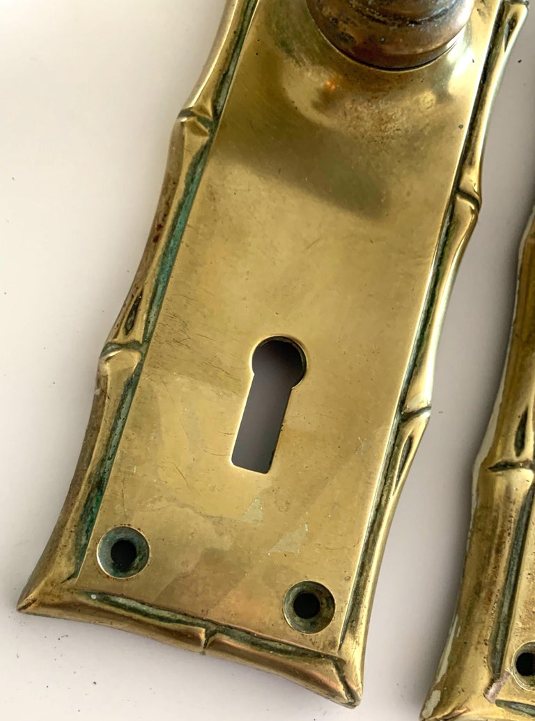 Chinoiserie Pair of Cast Brass Faux Bamboo Door Handles For Sale