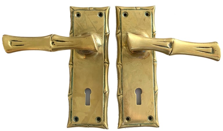 Pair of Cast Brass Faux Bamboo Door Handles In Good Condition For Sale In Stamford, CT