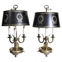 Pair of Cast Brass French Tole Painted Bouillotte Styled Library or Table Lamps