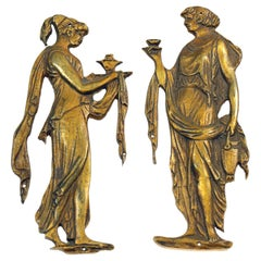 Pair of Cast Brass Roman Figural Furniture Appliques