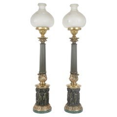 Pair of Cast Brass & Tole Neoclassical Sinumbra Style Lamps