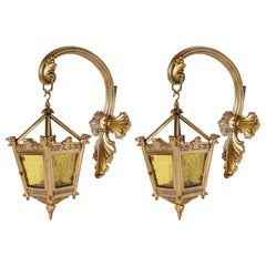Pair of Cast Bronze and Glass Sconces, England, Late 19th Century