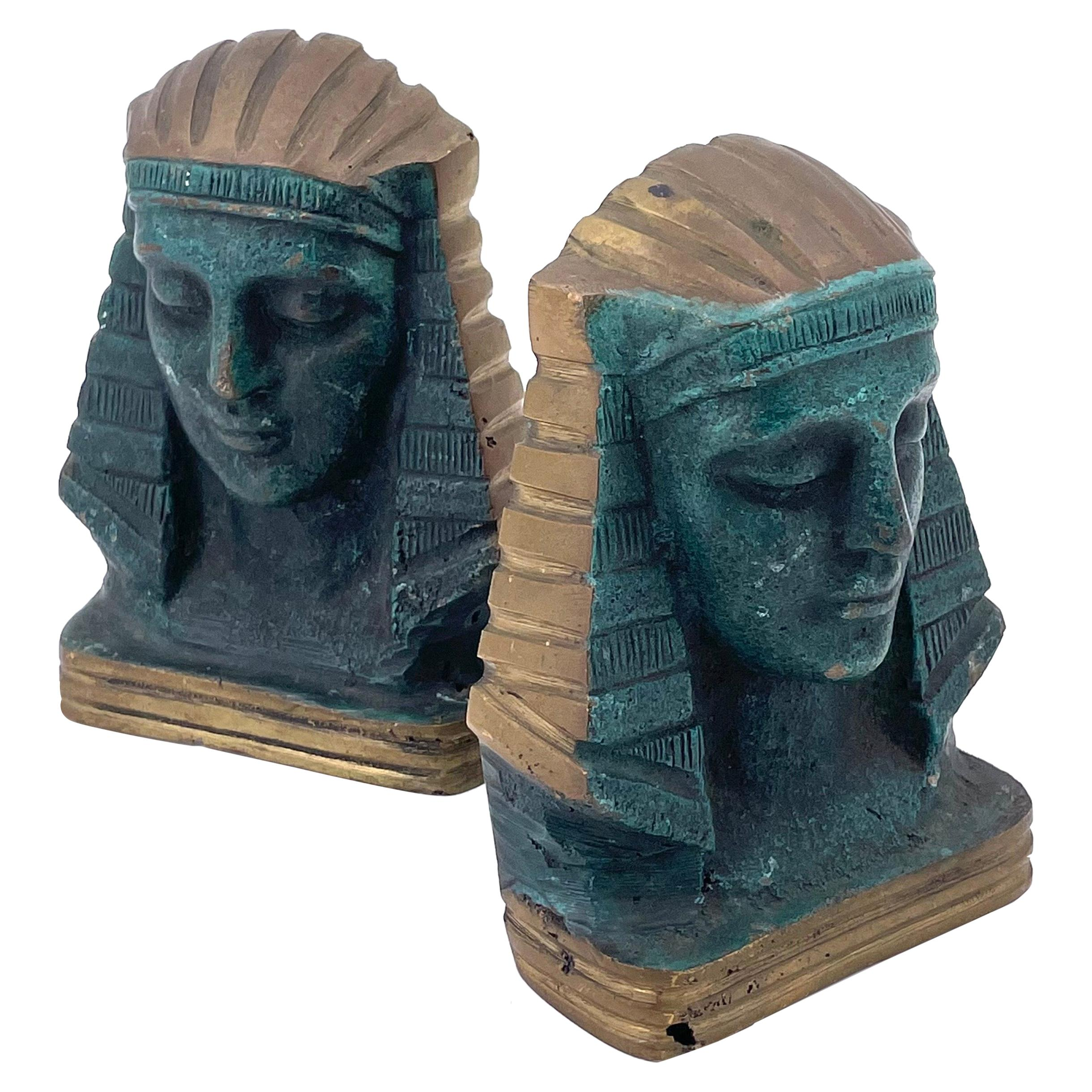 Pair of Cast Bronze Antique Egyptian Bookends