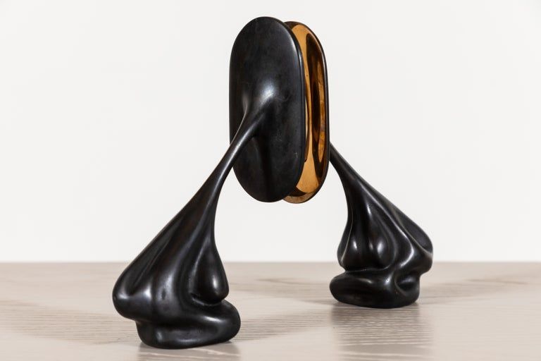 Mid-Century Modern Pair of Cast Bronze Bookends by Artist Vincent Pocsik For Sale