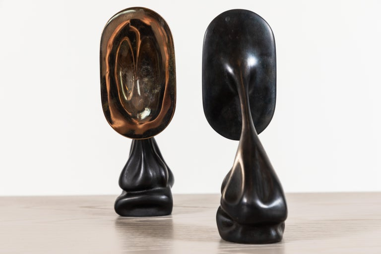 Pair of Cast Bronze Bookends by Artist Vincent Pocsik In New Condition For Sale In Los Angeles, CA