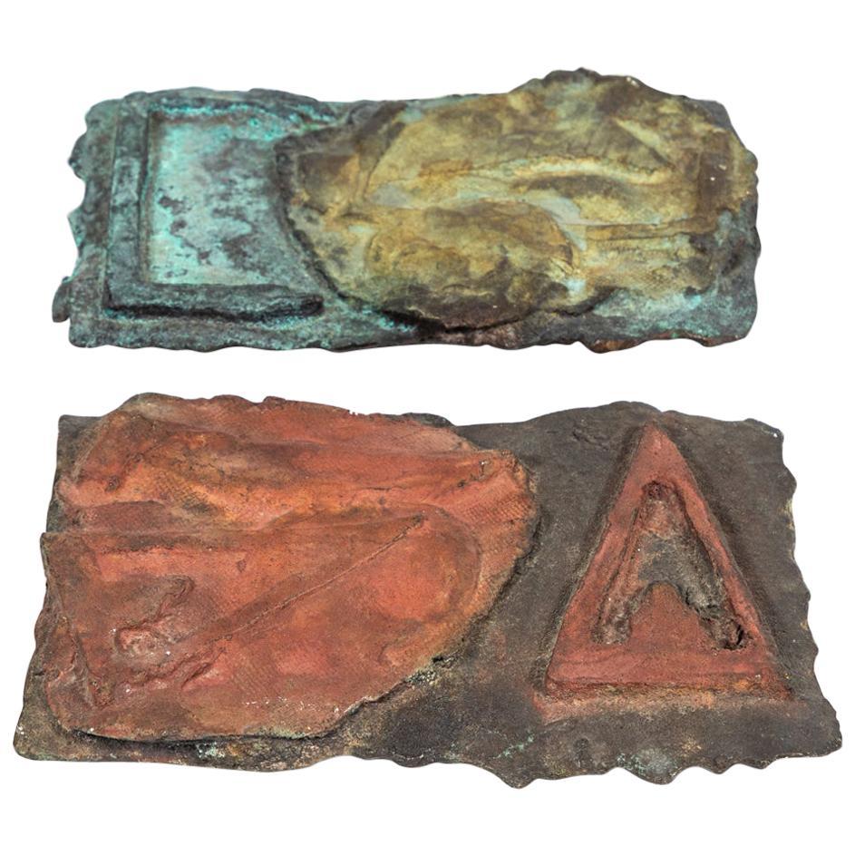 Pair of Cast Bronze Brutalist Plaques