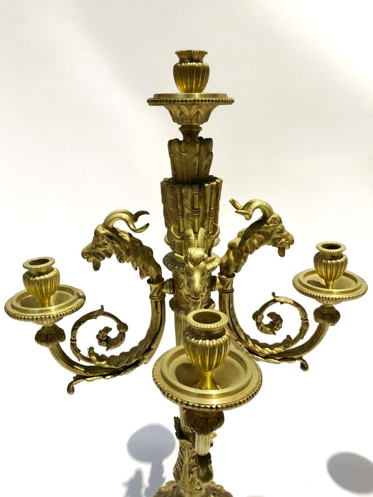 French Pair of Cast Bronze Candelabras in Louis XVI Style Signed Ferdinand Barbedienne For Sale
