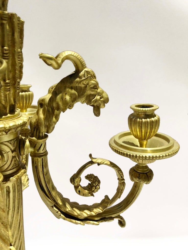 Pair of Cast Bronze Candelabras in Louis XVI Style Signed Ferdinand Barbedienne In Good Condition For Sale In Buenos Aires, Buenos Aires