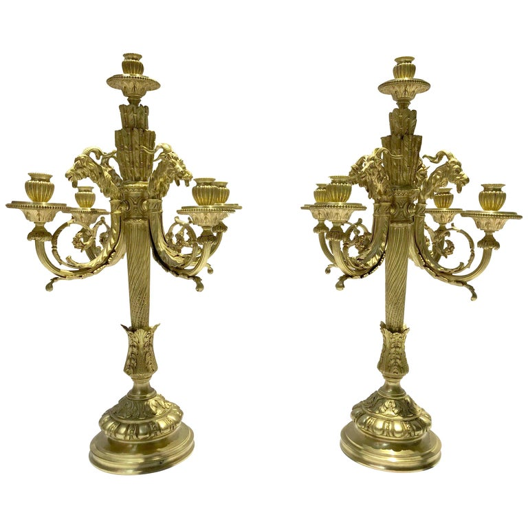Pair of Cast Bronze Candelabras in Louis XVI Style Signed Ferdinand Barbedienne For Sale