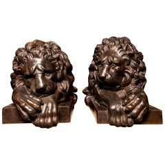 Pair of Cast Bronze Lions, Italy, Late 19th Century