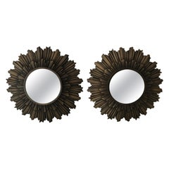 Pair of Cast Bronze Sunburst Mirrors
