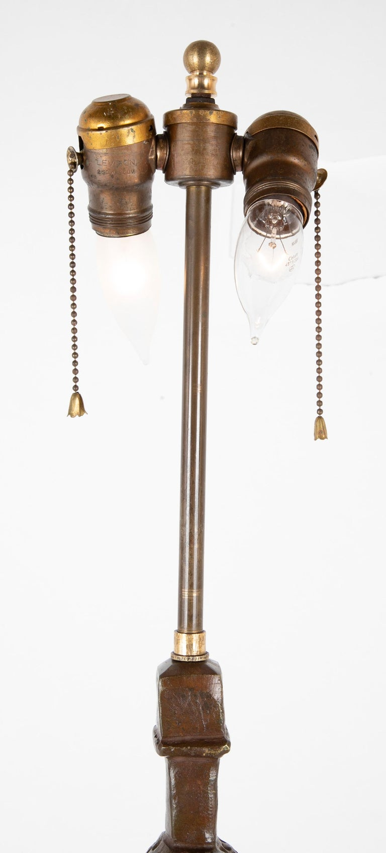 Pair of Cast Bronze Table Lamps in the Style of Giacometti For Sale 5