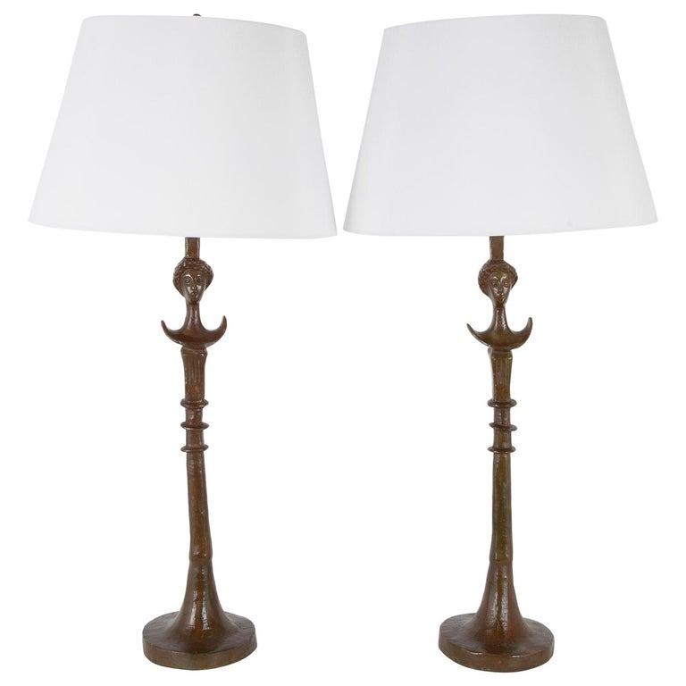 Pair of Cast Bronze Table Lamps in the Style of Giacometti For Sale
